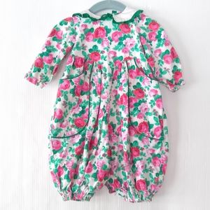 Vintage baby girl floral bubble romper 12 mo